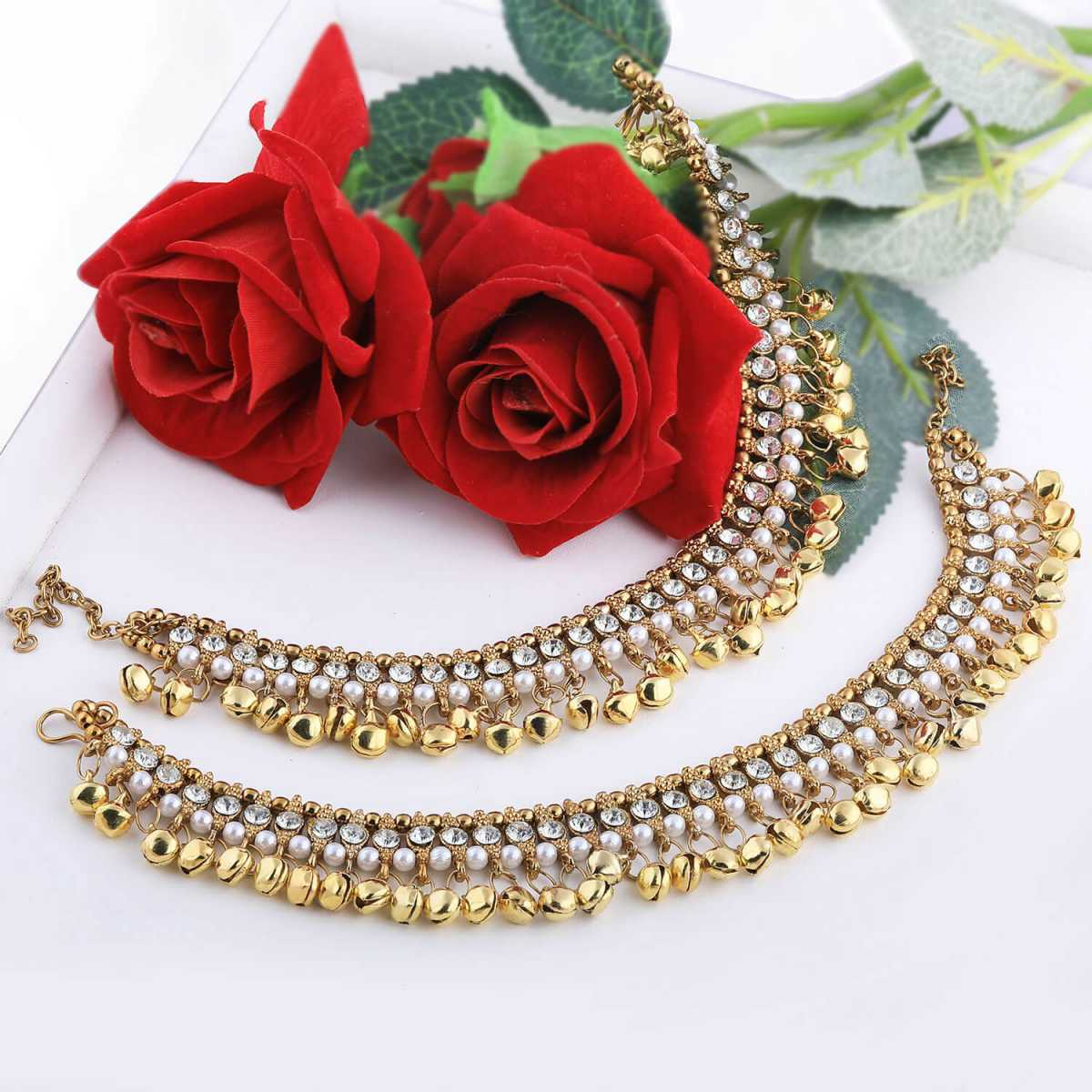 SILVER SHINE Golden Ethnic Ghungroo Kundan Alloy Anklet For Girl And Women