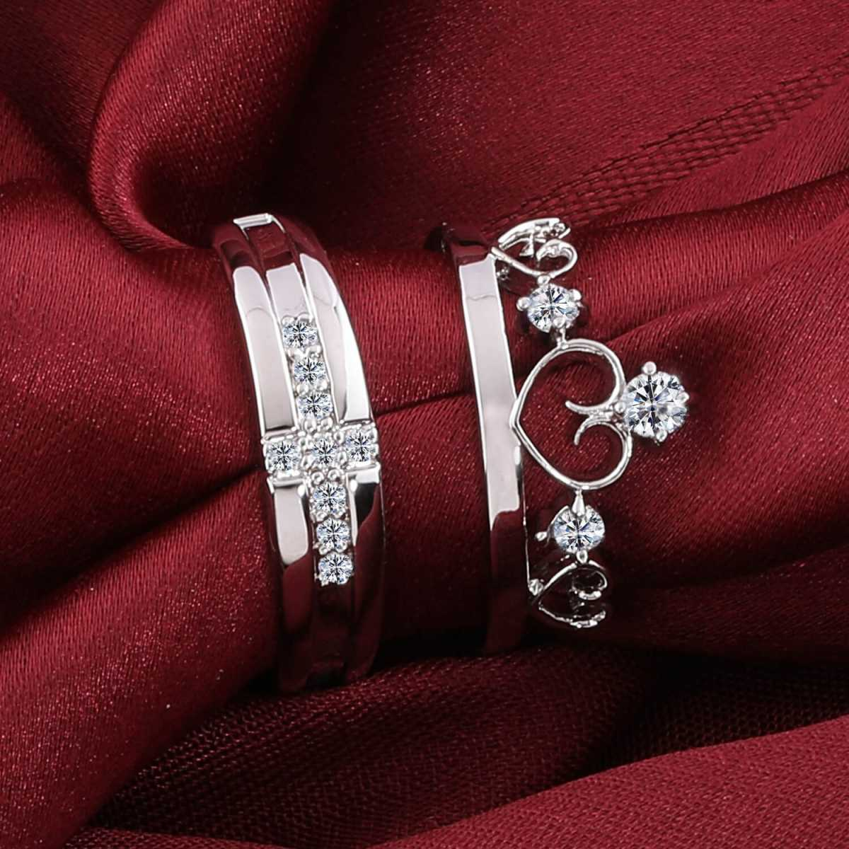 Silver Shine Silver Plated Solitaire king and Queen Adjustable Couple ring  with American diamond and crystal stones for Men and Women,Couple ring for Girls and Boys-2 pieces