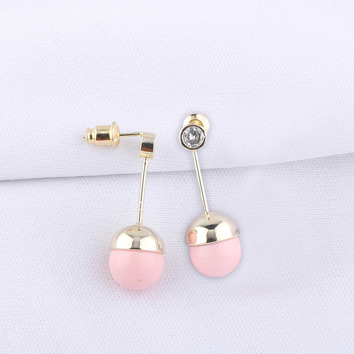 Silver Shine Stone Studded Pink pearl Drop Designer Stylist Earring For Girls and Women Jewellery
