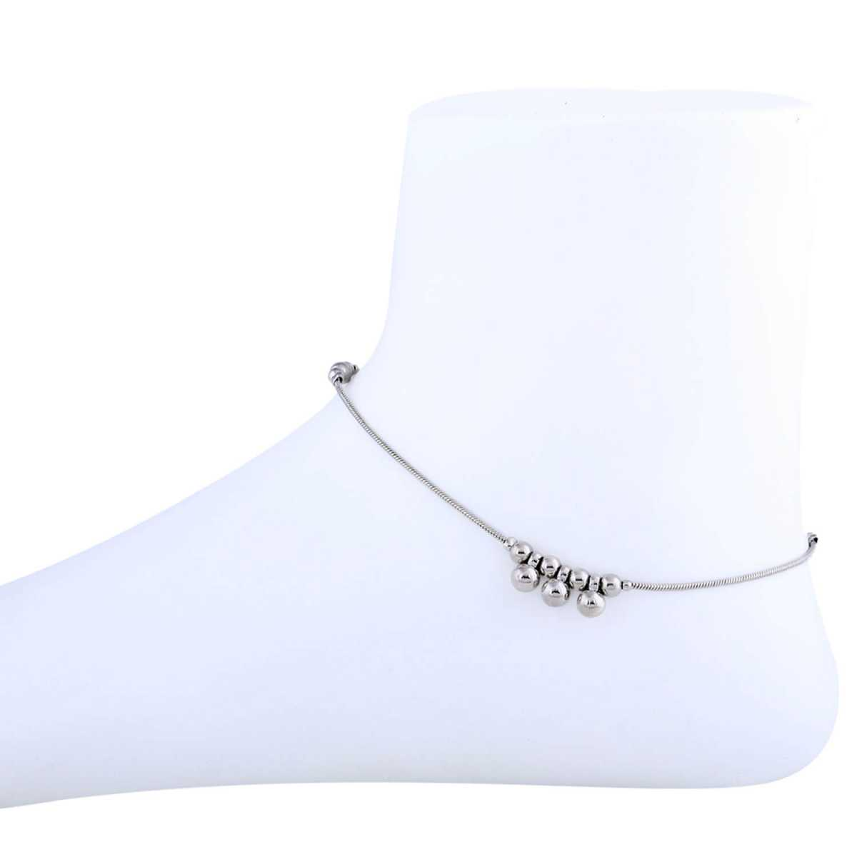 SILVER SHINE Silver Plated Adjustable Single line Delicated Anklet For women Girl