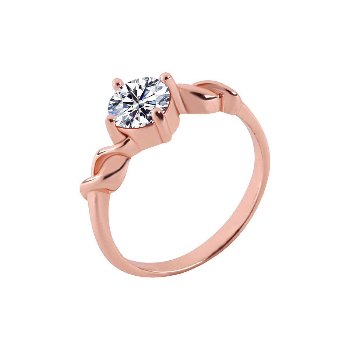 Silver Shine Rose Gold Plated Elegant Classic Crystal Solitaire Ring for Girls and women