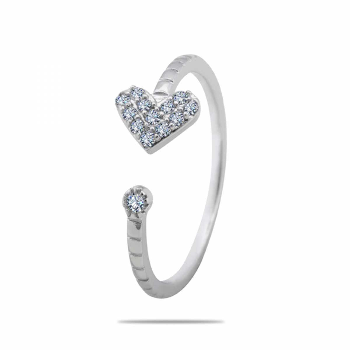 Heart With Diamonds Open Silver Ring