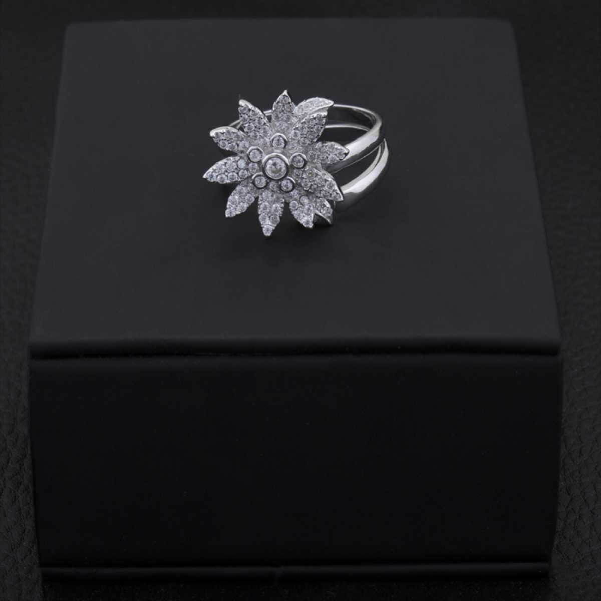 Flower Cocktail Silver Ring