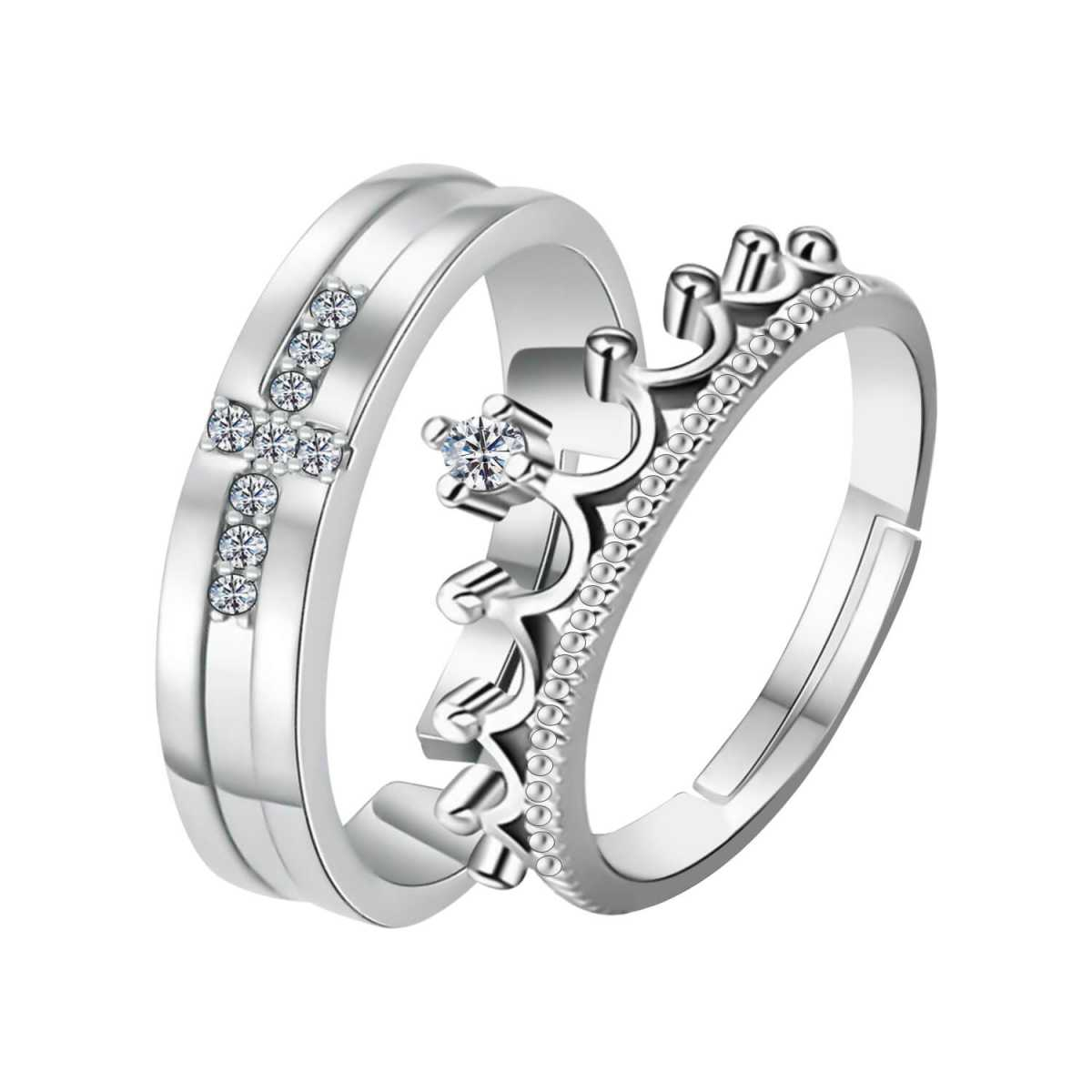 Silverplated  Exclusive couple ring For Men And Women Jewellery