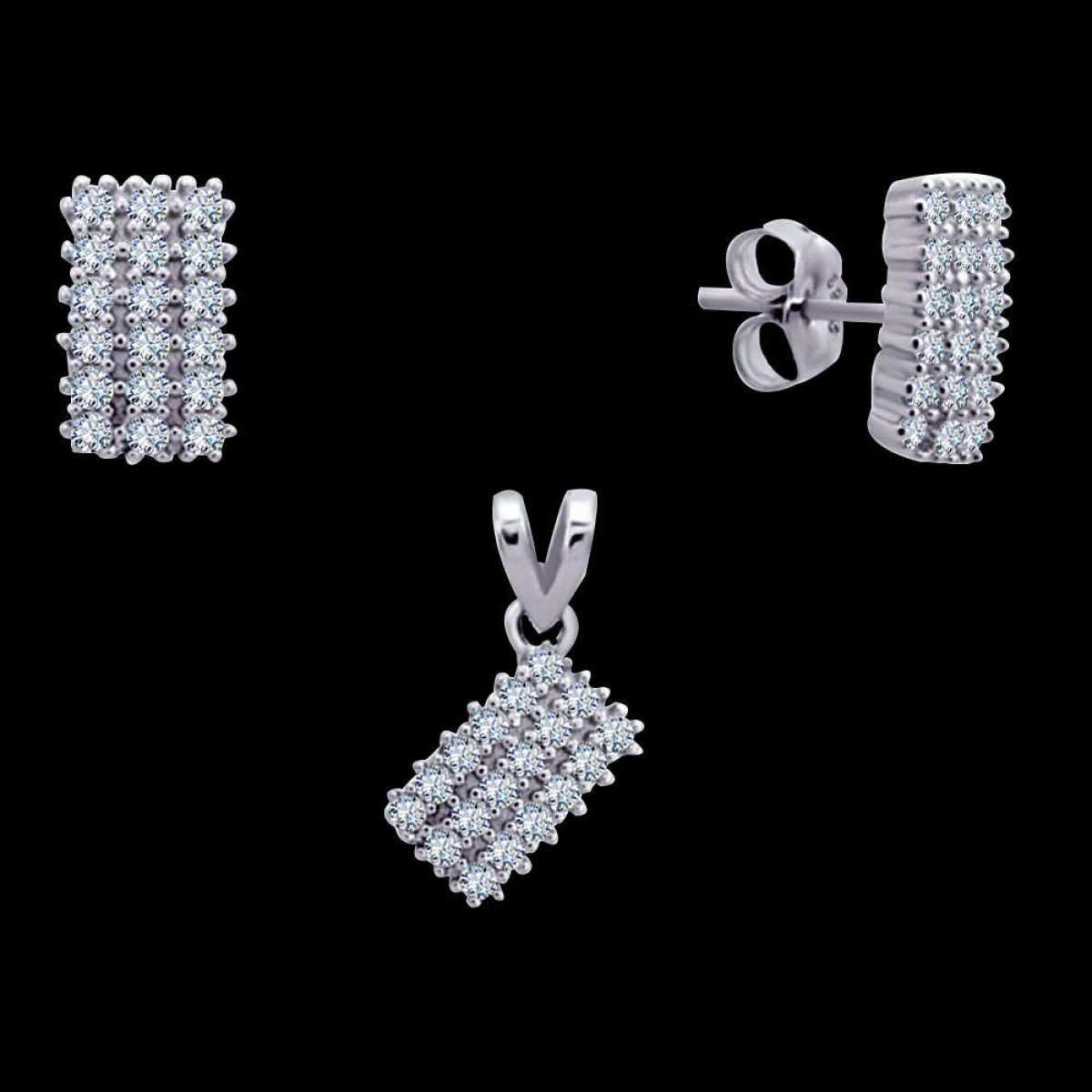 Rectangle Shape Diamond Silver Pendant Set