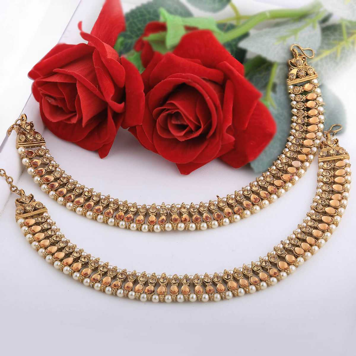 SILVER SHINE Exclusive Golden Kundan Anklet for Women And Girl