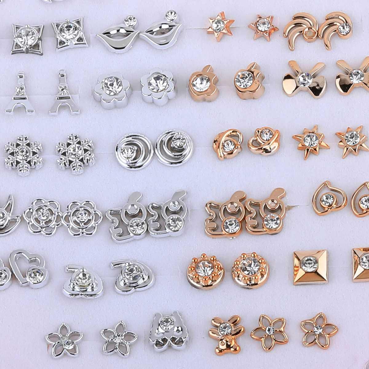Silver Shine Fancy Alegent  look Silver Golden Set of 36 Earrings for Women.