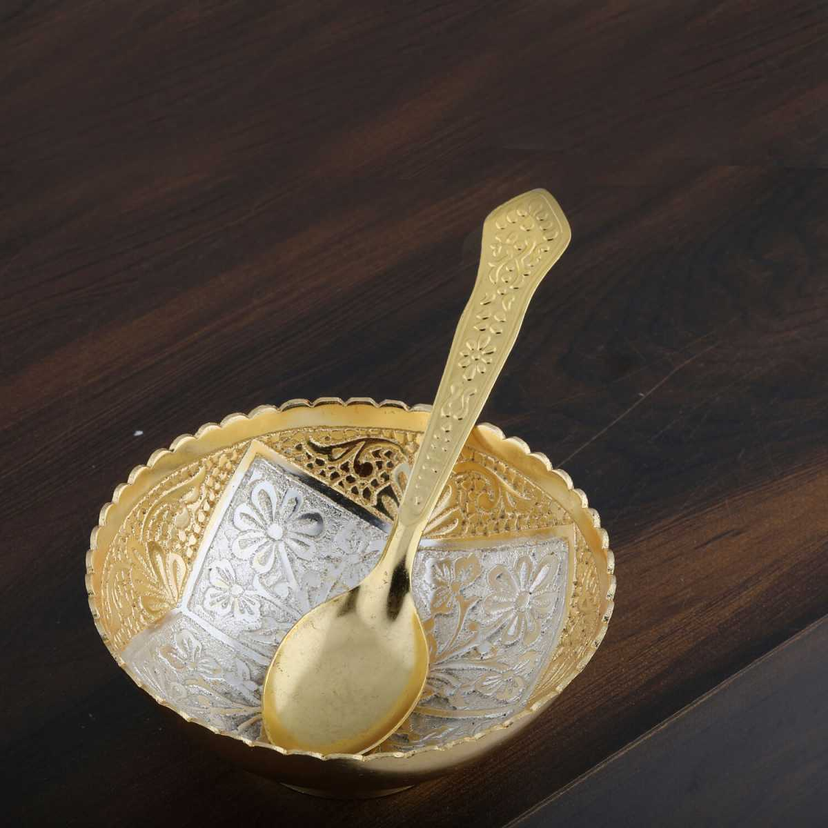 Silver Shine Gold And Silver Plated Decorative Bowl And Spoon Set For Gift-Set of 2