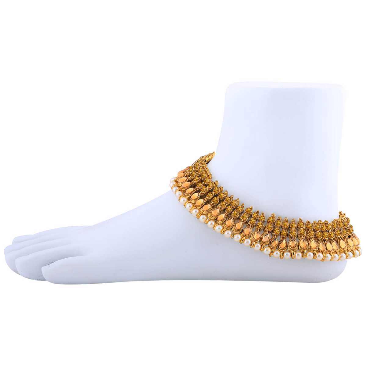 SILVER SHINE Charms Golden  Antique Kundan Anklet For Women And Girl.