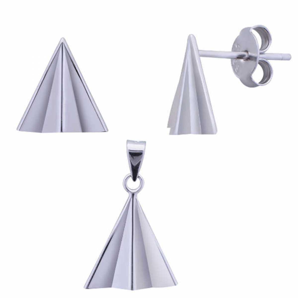 Plain Triangle Silver Pendant Set