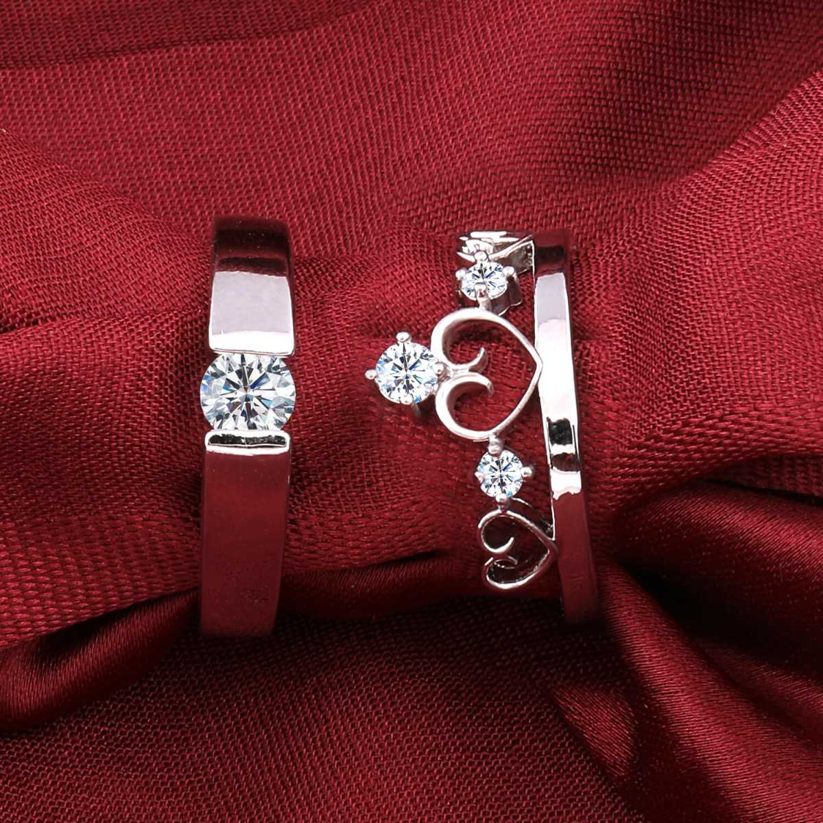 Silverplated Gorgeous His and Her Adjustable proposal couple ring For Men And Women Jewellery