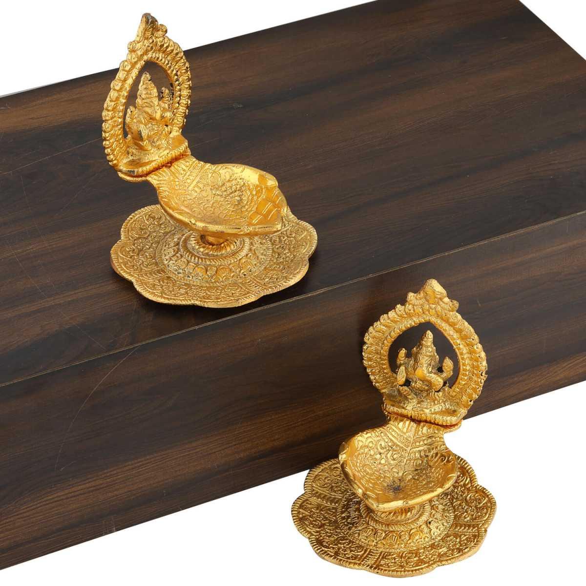 Silver Shine Gold Plated Designer Ganesha Design Diya Set of 2