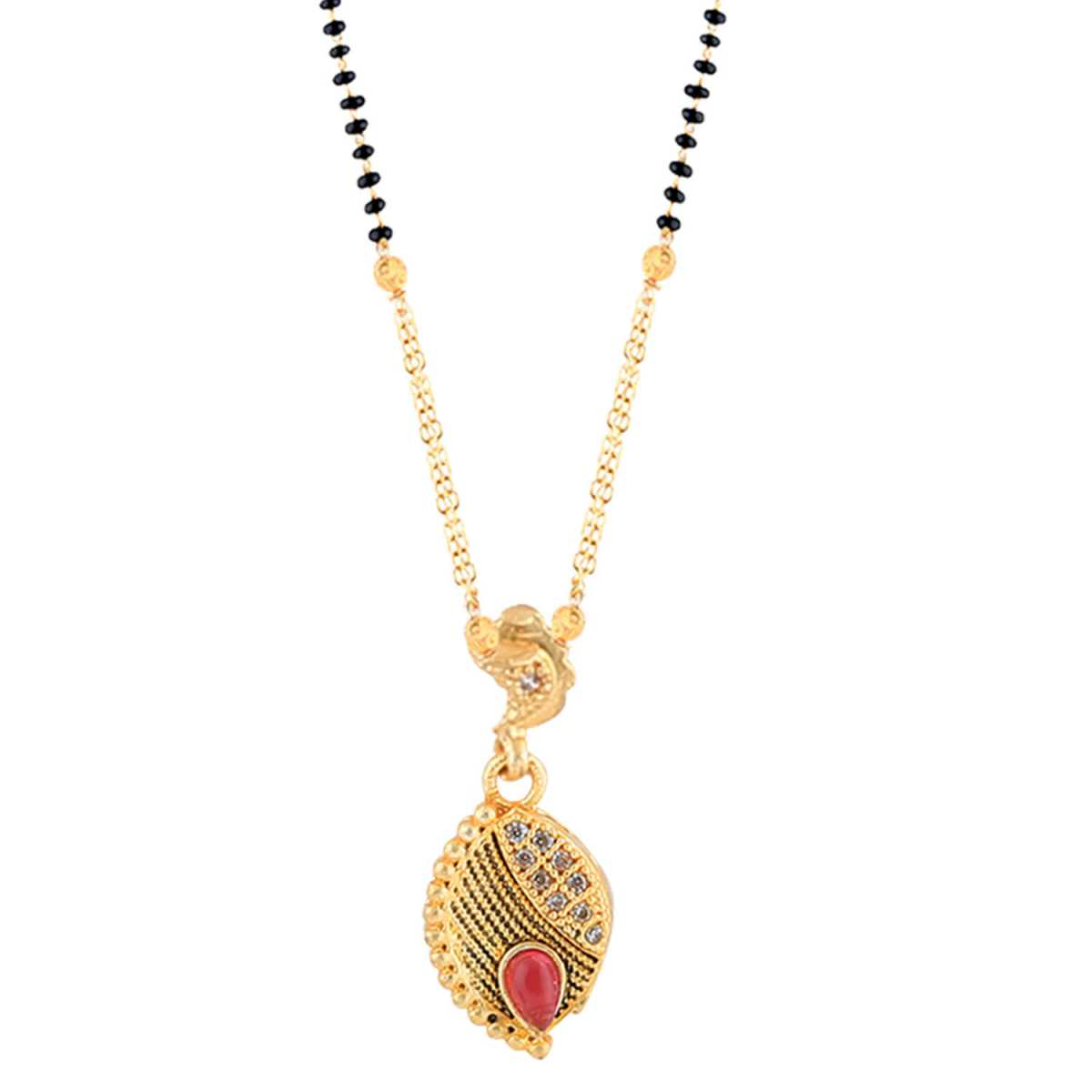 SILVER SHINE Exclusive Gold Plated Leave Shape Pandent Mangalsutra For Women