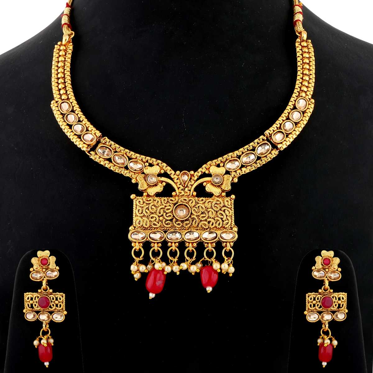 Silver Shine Traditional Gold Plated Elegant Kundan Stone Studded Red Bead Drop Designer Bridal wedding Necklace Jewellery Set for Girls and women