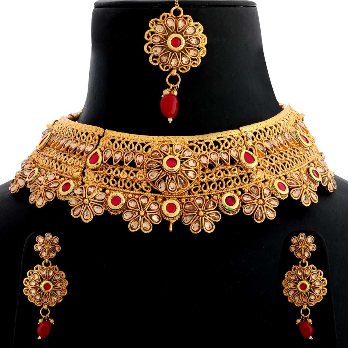 Silver Shine Gold Plated Choker  Traditional Royal Finish Kundan Stone Studded Flower Type Design with Bead Drop  Designer Wedding Necklace jewellery set for Girls And Women