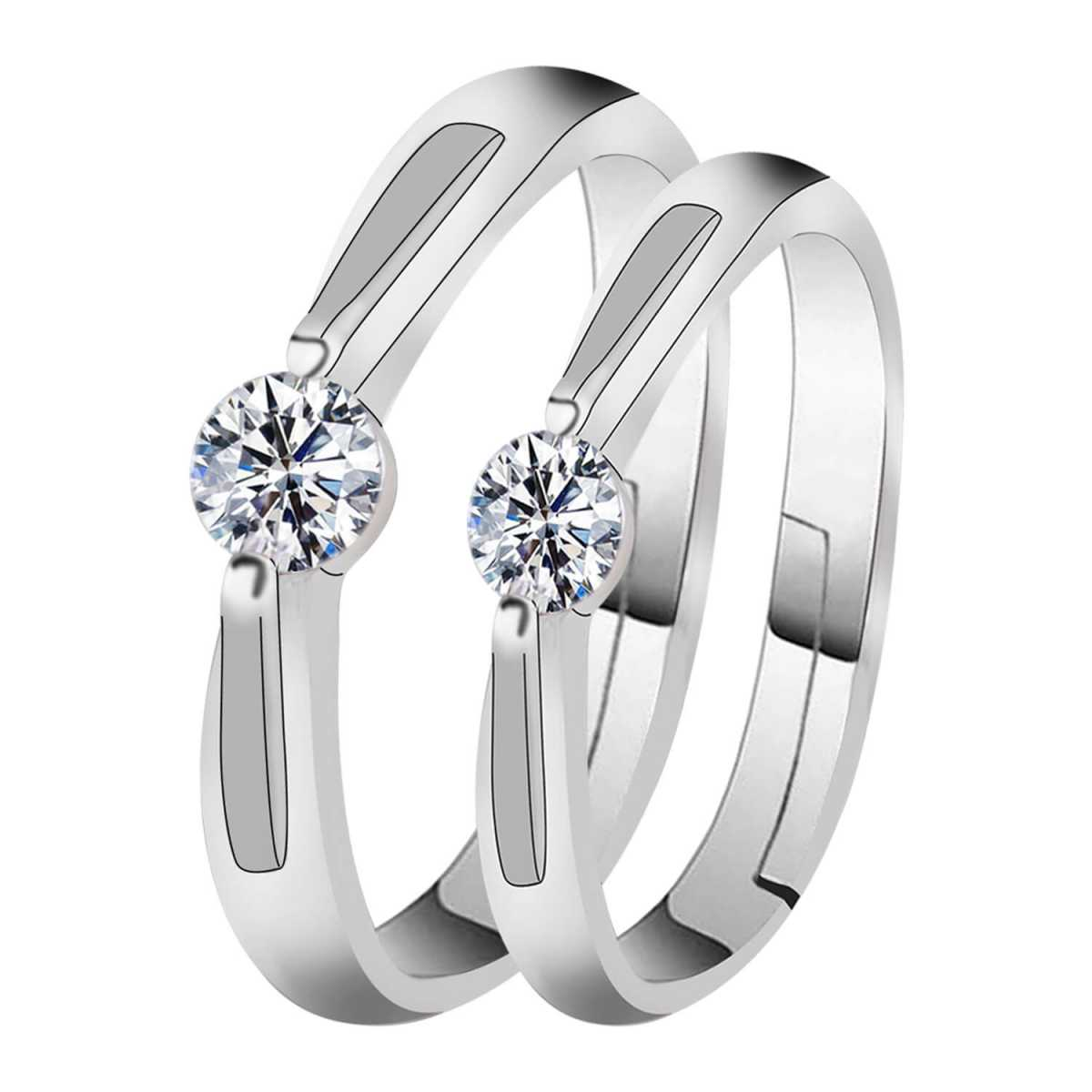 Silverplated  Gorgeous Solitaire  couple ring For Men And Women Jewellery