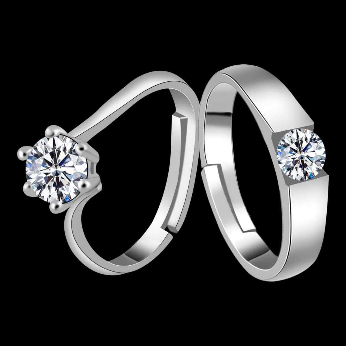 Silverplated lovely Solitaire His and Her Adjustable proposal couple ring For Men And Women Jewellery