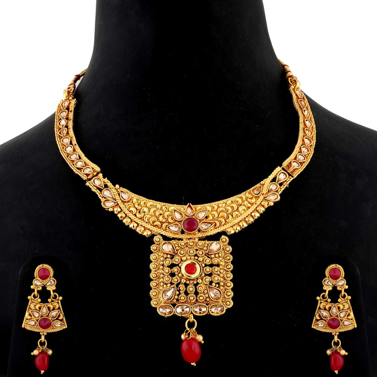 Silver Shine Traditional Gold Plated Antique Red kundan Stone Studded Self Textured Bead Drop Designer Party Wear Wedding Necklace jewellery Set For Girls and women
