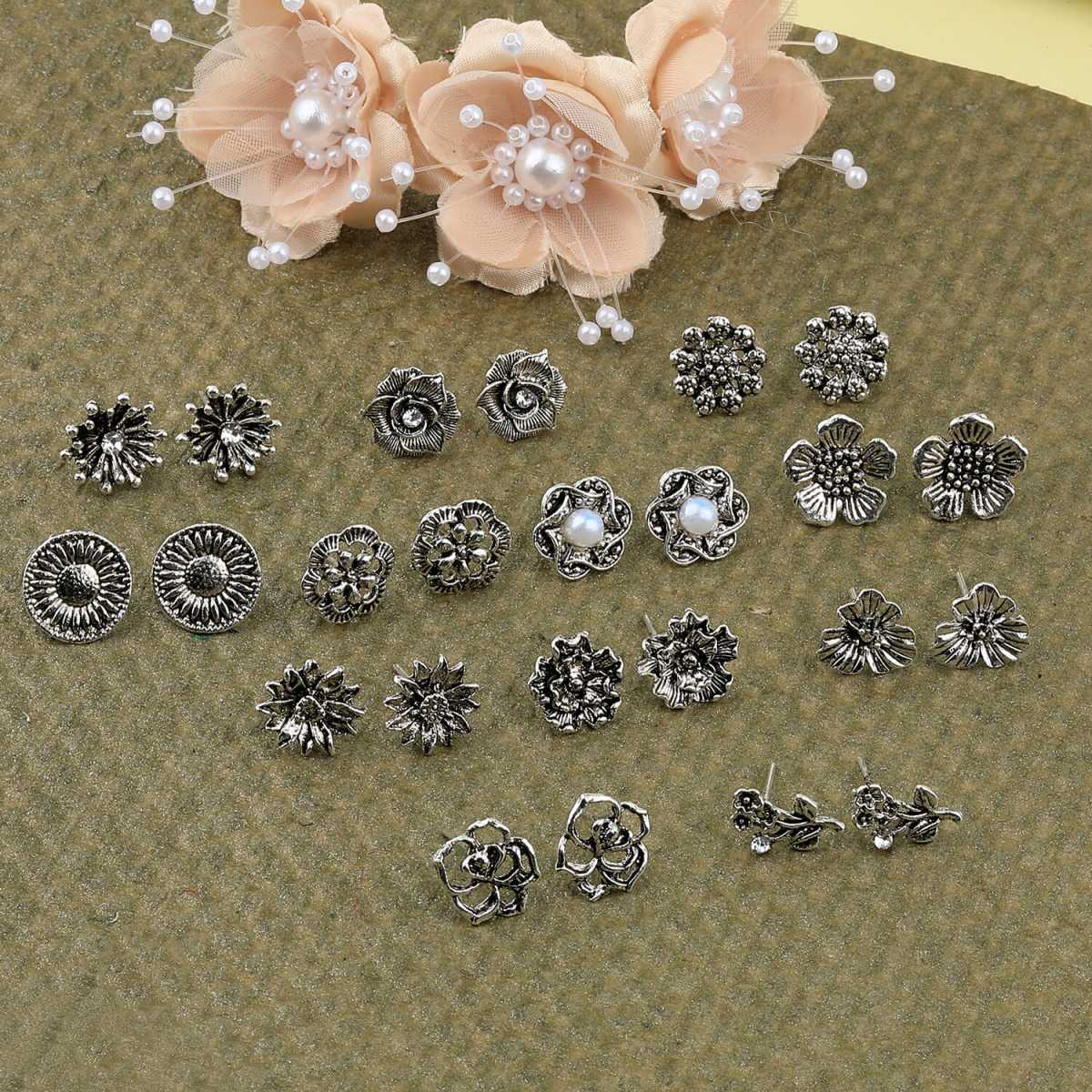 SILVER SHINE Party Wear Silver Oxidised Charm Studs Earring Girl Women Set of 12