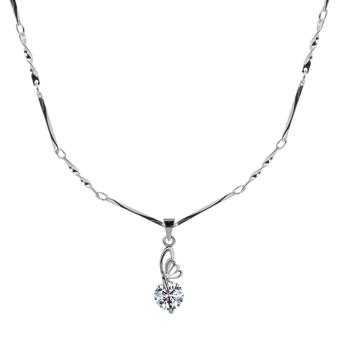 Silver Plated chain With Half Butterfly With Solitaire  Diamond Pendant  For Women