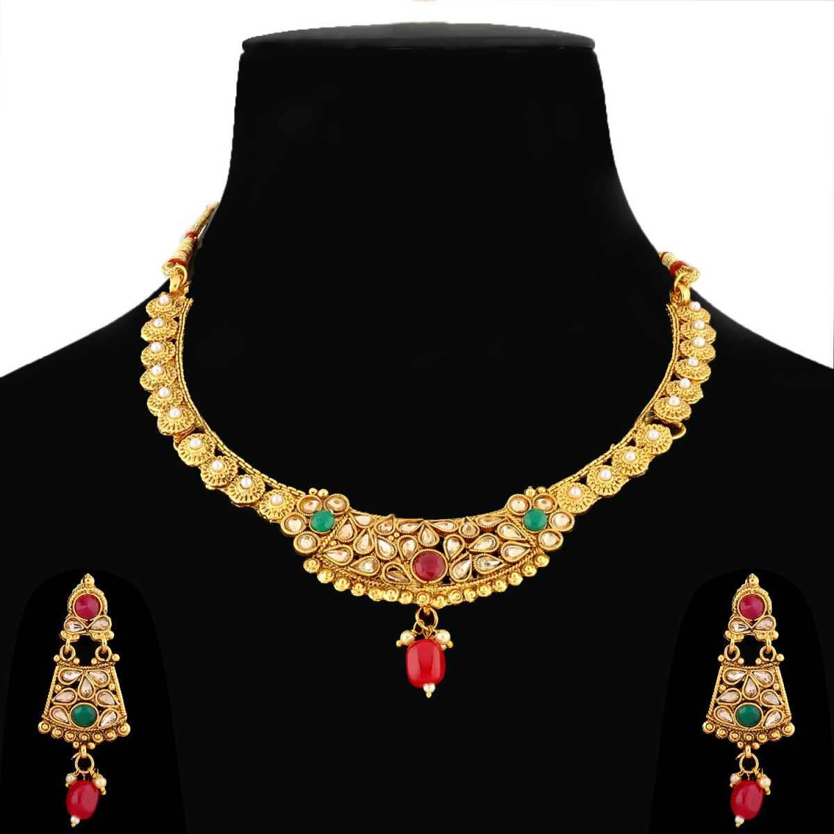 Silver Shine Traditional Gold Plated Elegant Self Textured Red and Green Kundan stone studded Bead drop Designer wedding Necklace Jewellery set For Girls and Women