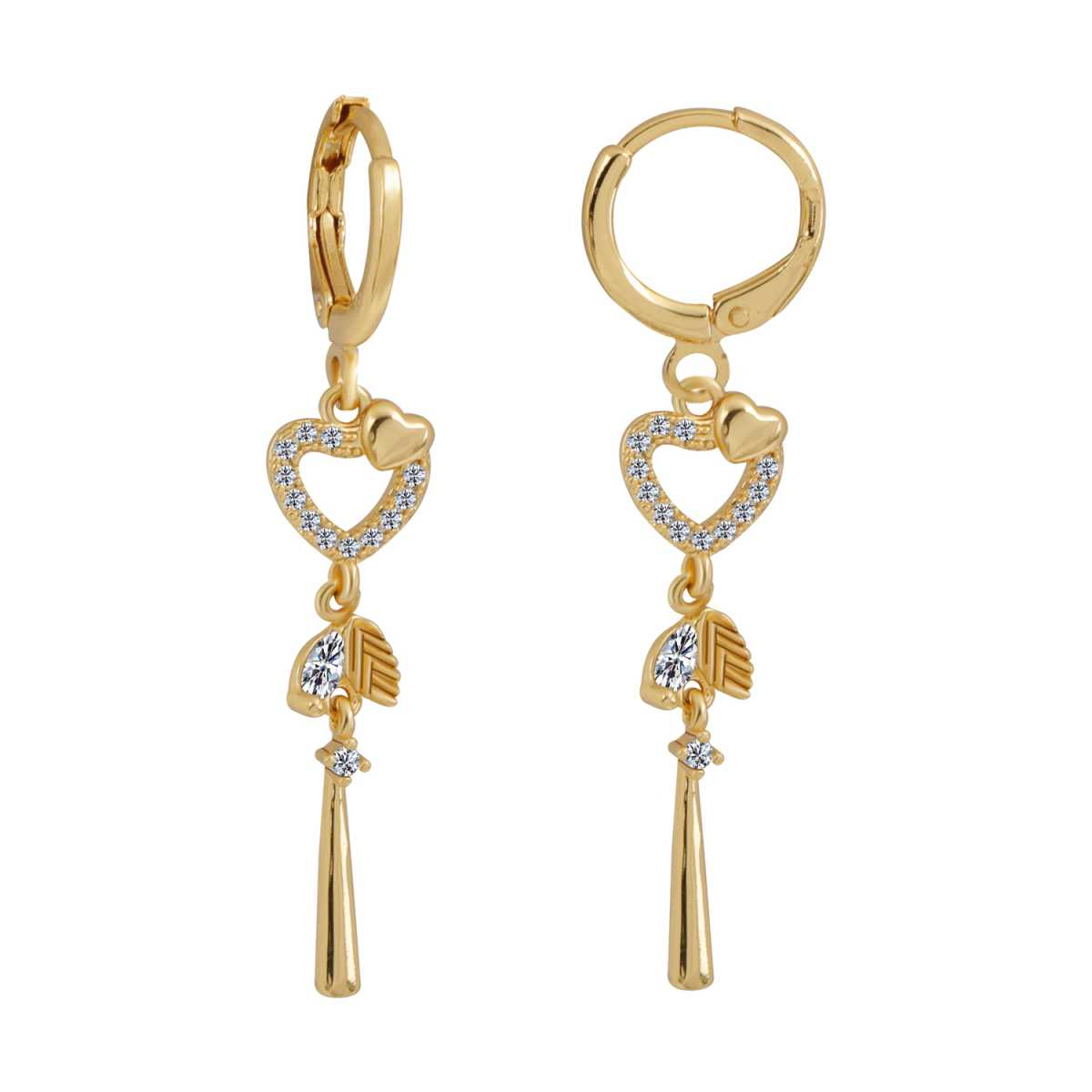 Silver Shine Glorious Golden Heart Clip On Bali Earring for Women