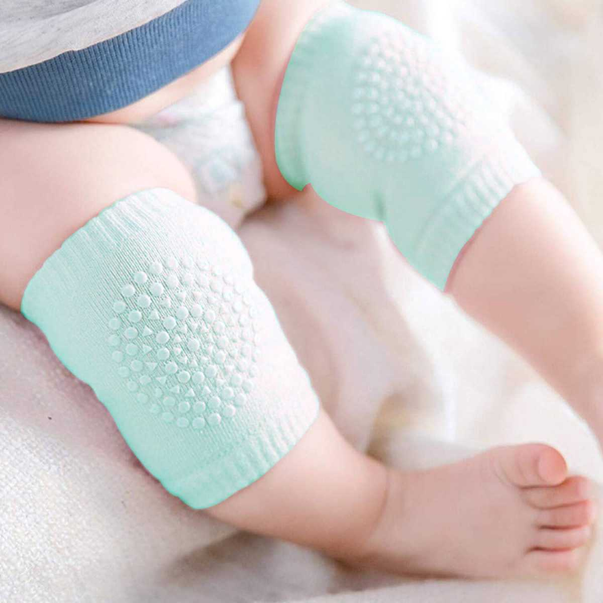 Silver Shine Baby Knee Pads Safety Stretchable Anti-Slip Padded Soft Cotton Breathable Comfortable Knee(1 Pair,Assorted Color )