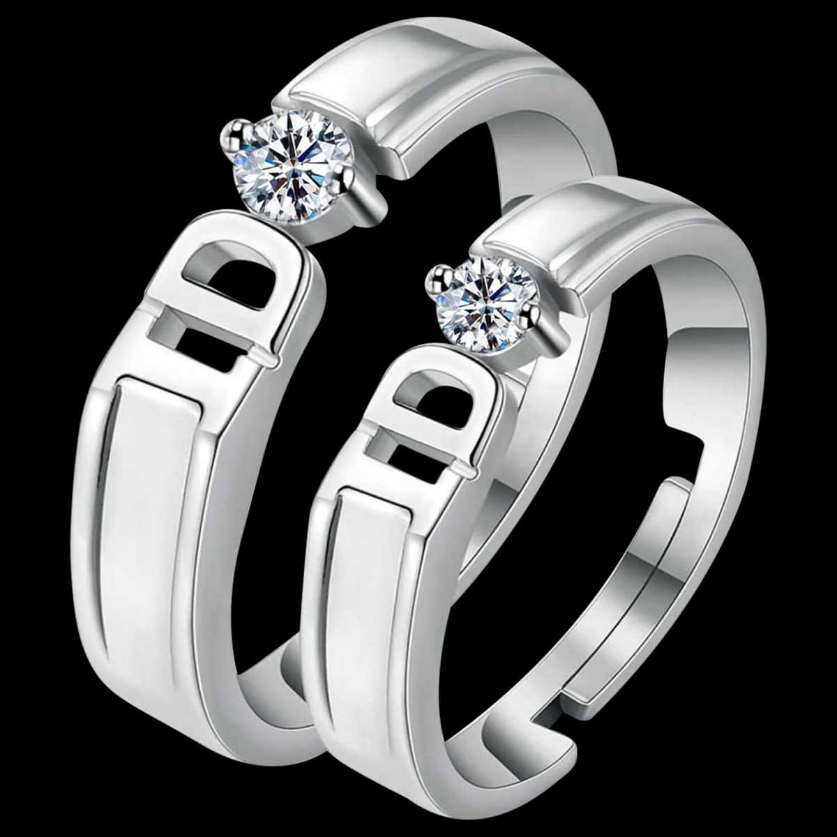 Silverplated Exclusive I DO Solitaire His and Her Adjustable proposal couple ring For Men And Women Jewellery