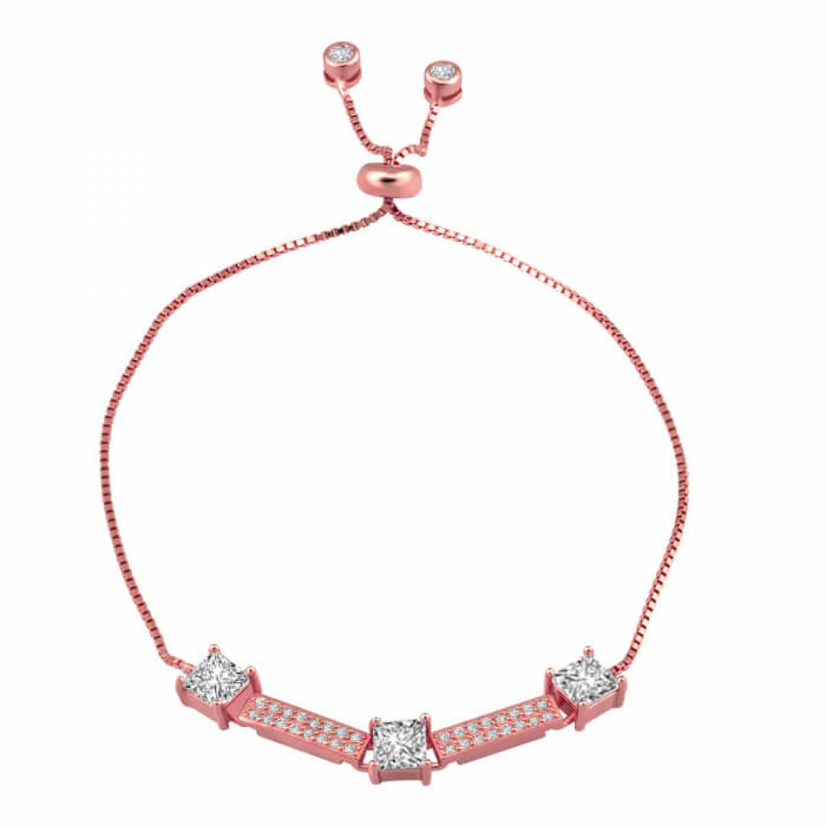 Charming Squares With Diamonds Bracelet