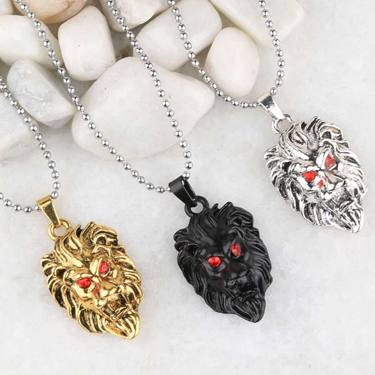 SILVERSHINE Silver Plated Stylist Chain With Lion Design Combo Chain pendant For Man Boys-3Piece