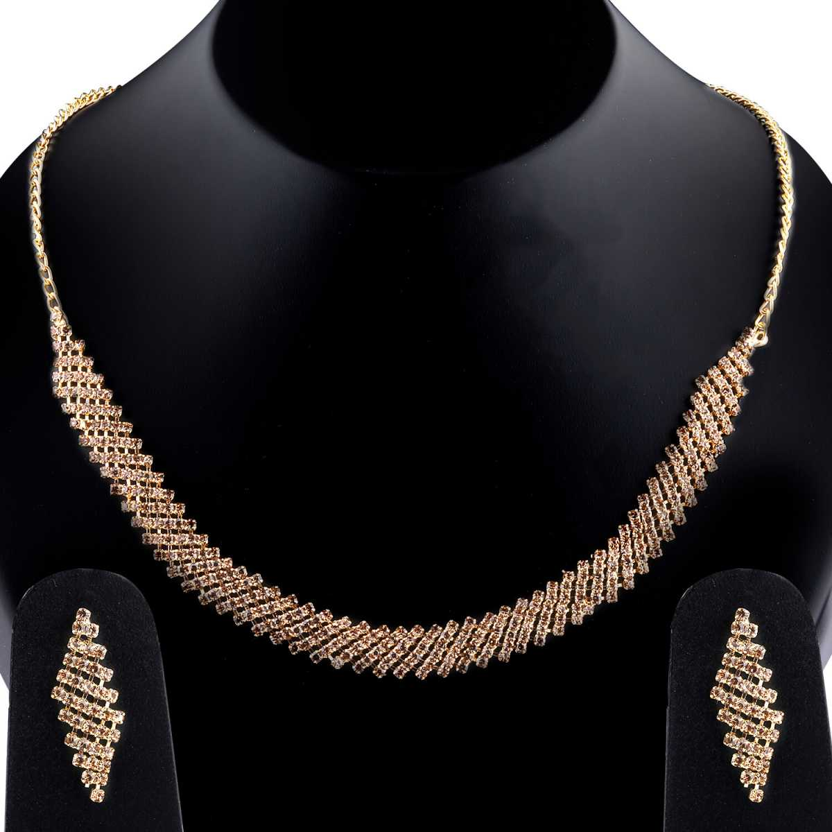 Traditional Designer Partywear Golden colour Diamond Studded Necklace Set For Women Jewellery Set