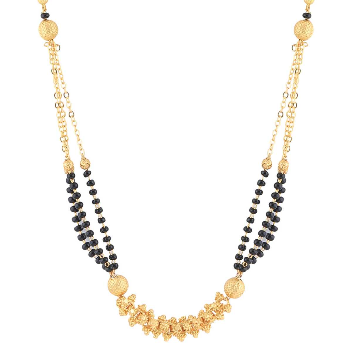 SILVER SHINE Gold Plated Three Chain Designer Mangalsutra For Women