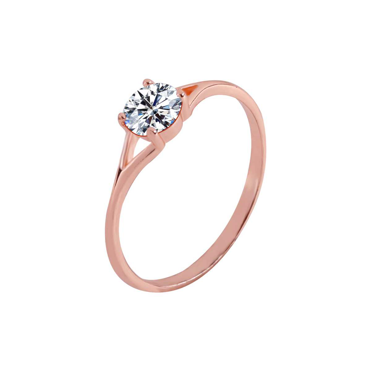 Silver Shine Rose Gold Plated Elegant Classic Crystal Solitaire Ring for Girls and women,wedding ring,jewelry,diamonds,fashion jewelry,couple rings .