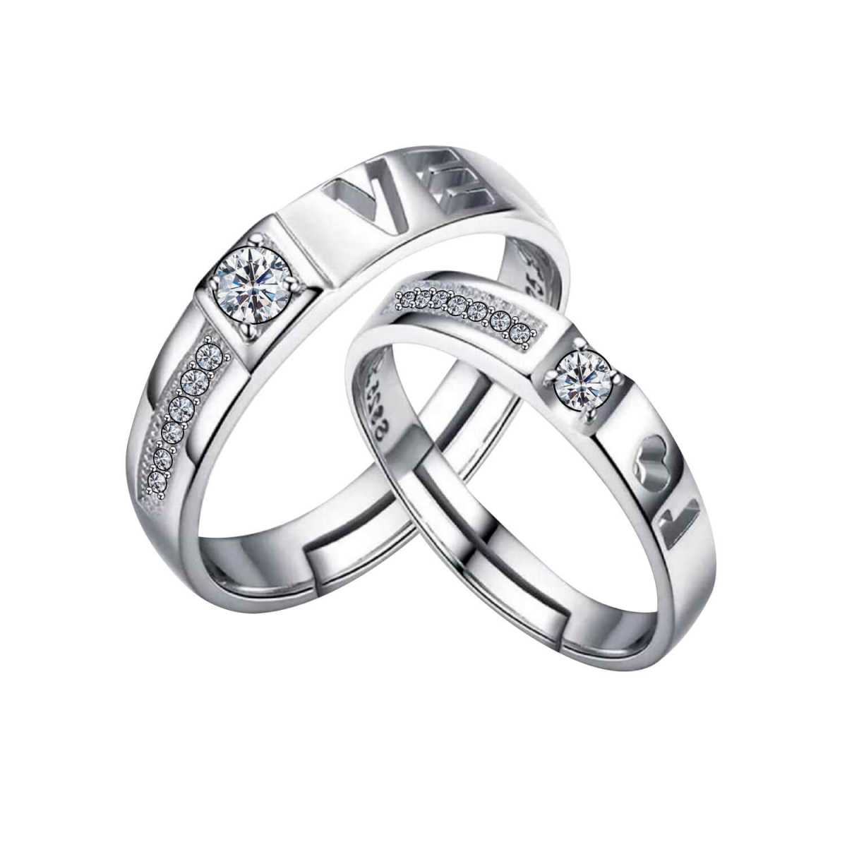 SILVERSHINE,silver plated half side decorated crystal diamond with adjustable superior designed couple ring for men and women.