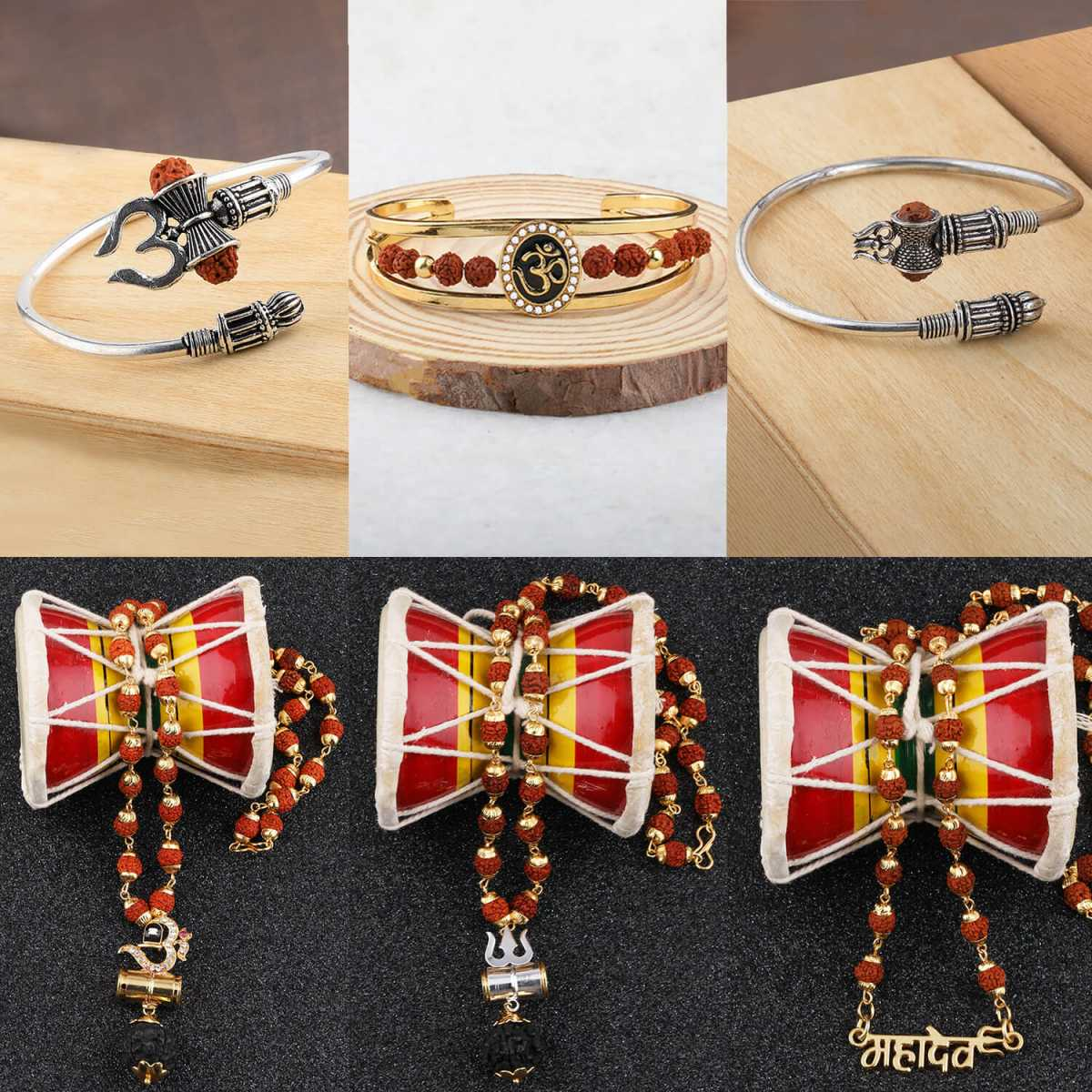SILVER SHINE Gold Plated Traditional Combo Rudraksh Mala And Kada Pendant for Men and Women Set-6
