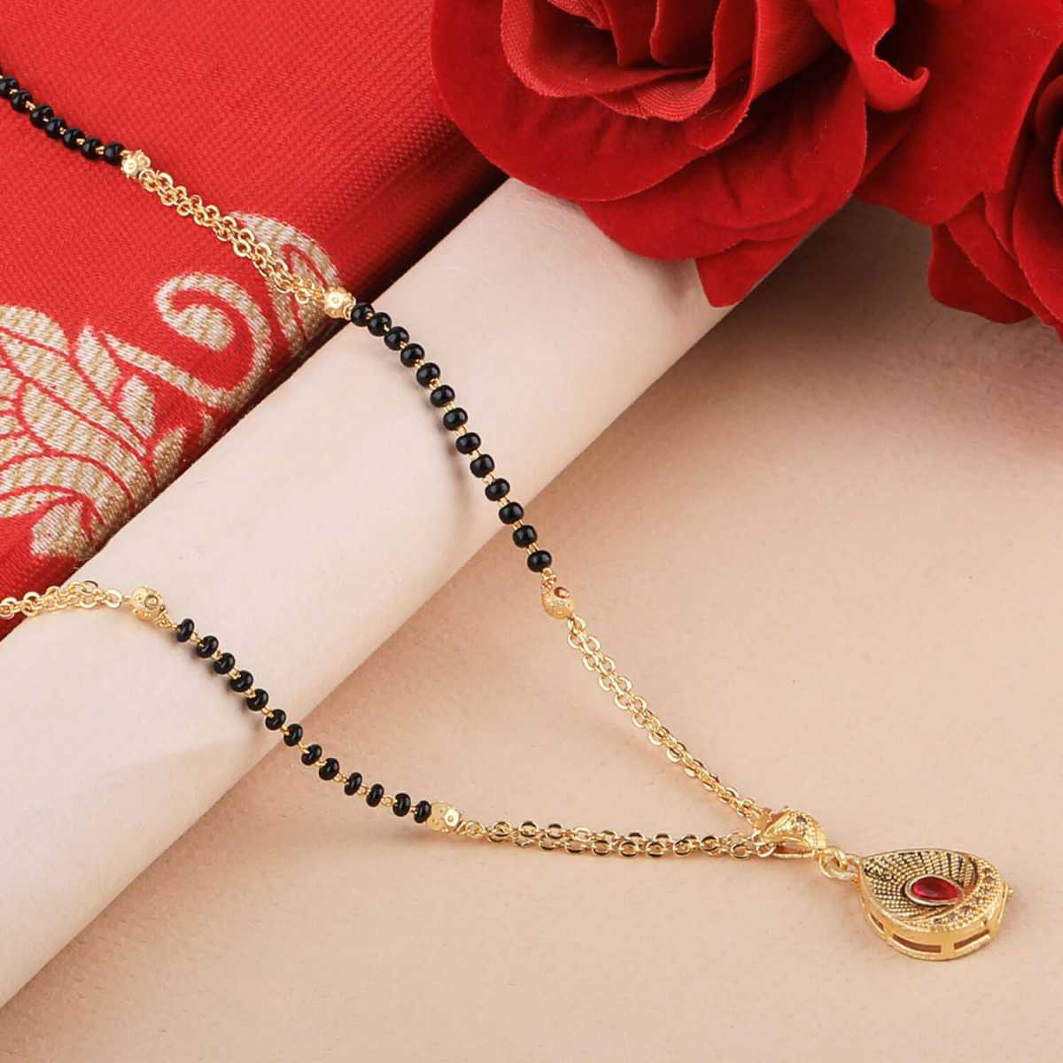 SILVER SHINE Gold Plated Daily Wear Simple Designer Pandent Mangalsutra For Women
