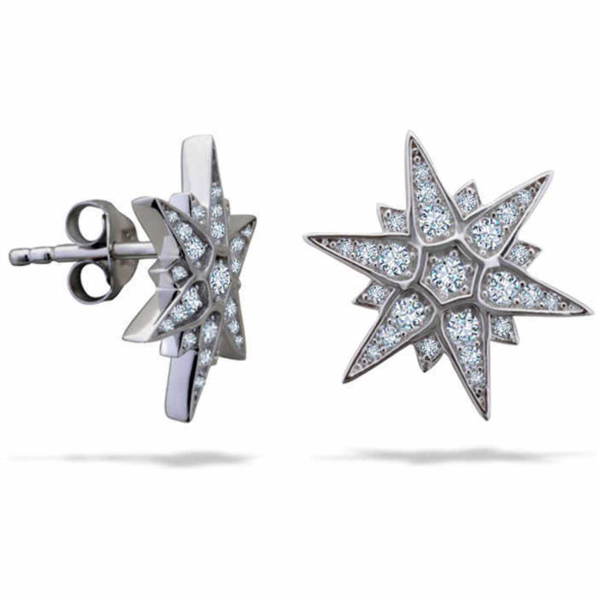 Diamond Star Stud Earring In Silver Earring