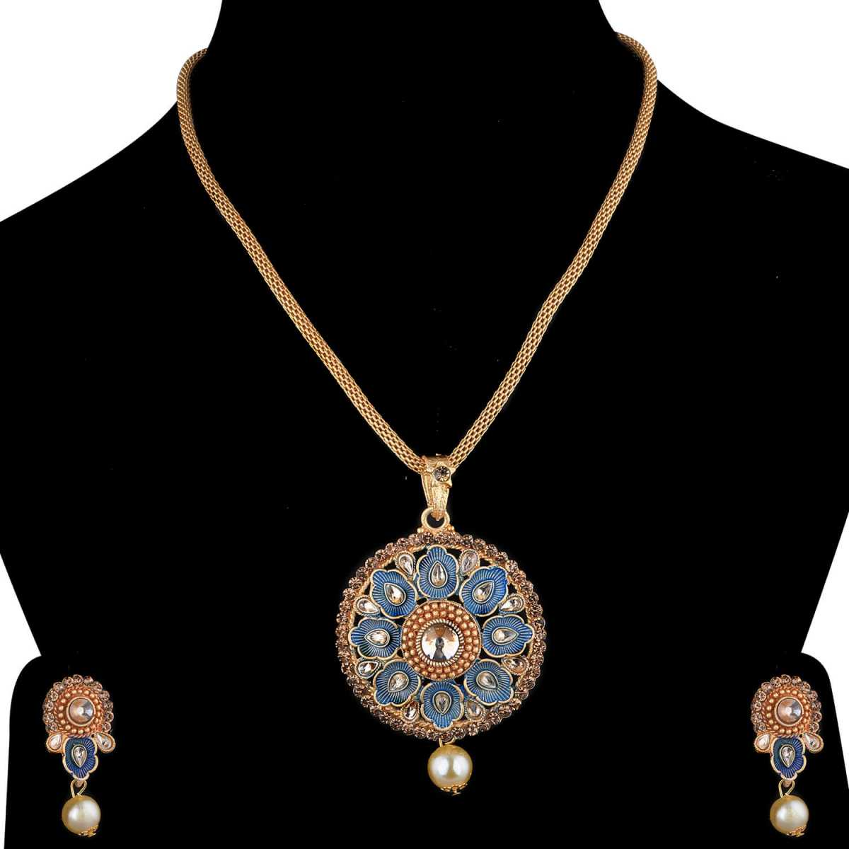 SILVERSHINE Exclusive Goldplated Traditional Necklace Pendant  set  for women jewellery