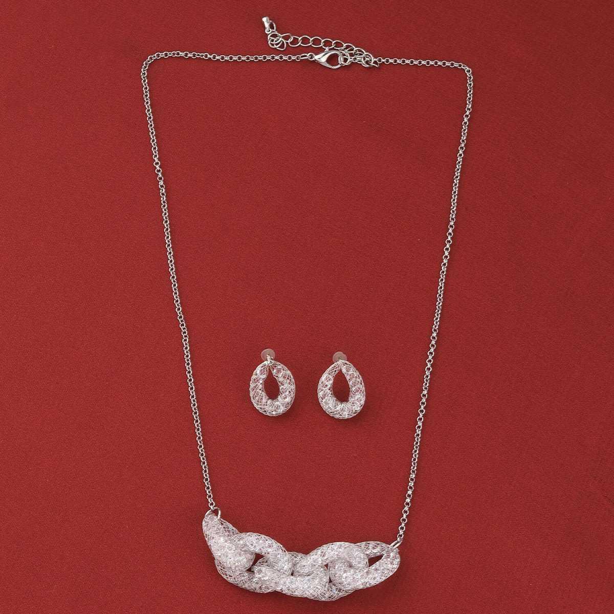 SILVER SHINE Elegant Party Wear Different Designe Pendant Set For Women Girl