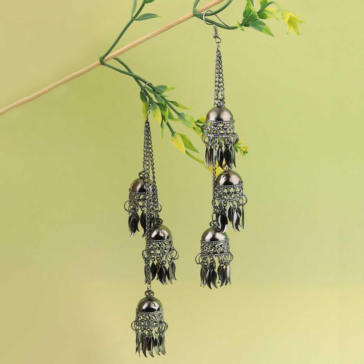 Silver Shine Party Wear Silver Black Multi Drop Designer Earrings For Women Girl