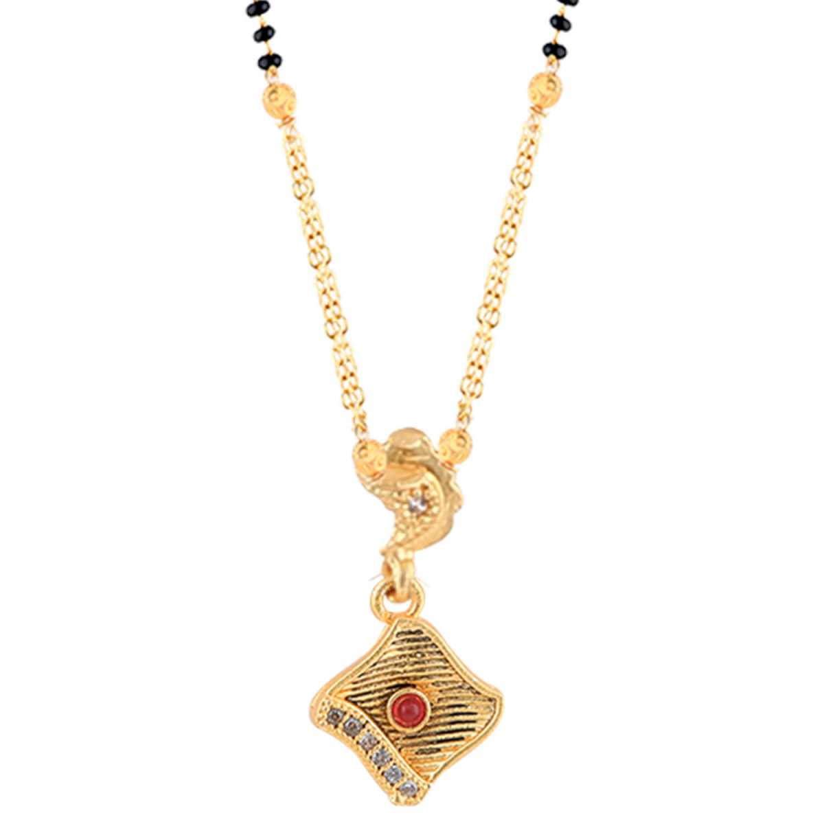 SILVER SHINE Gold Plated Party Wear Delicated Pandent  Mangalsutra For Women