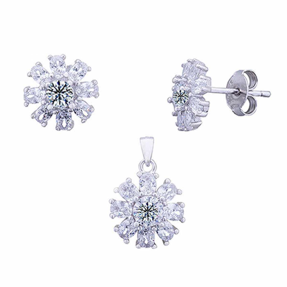 Diamond Silver Pendant Set