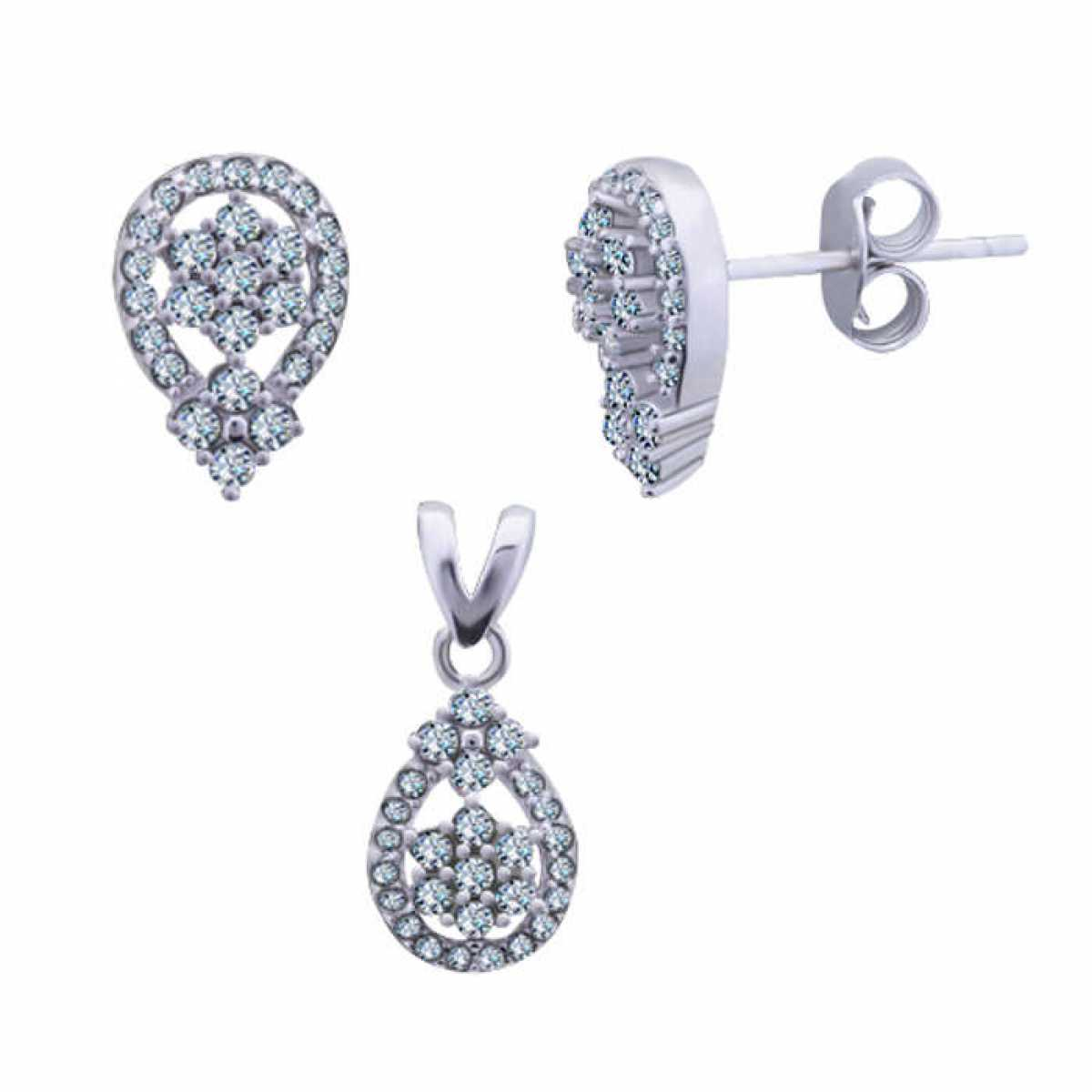 Oval Diamond Silver Pendant Set