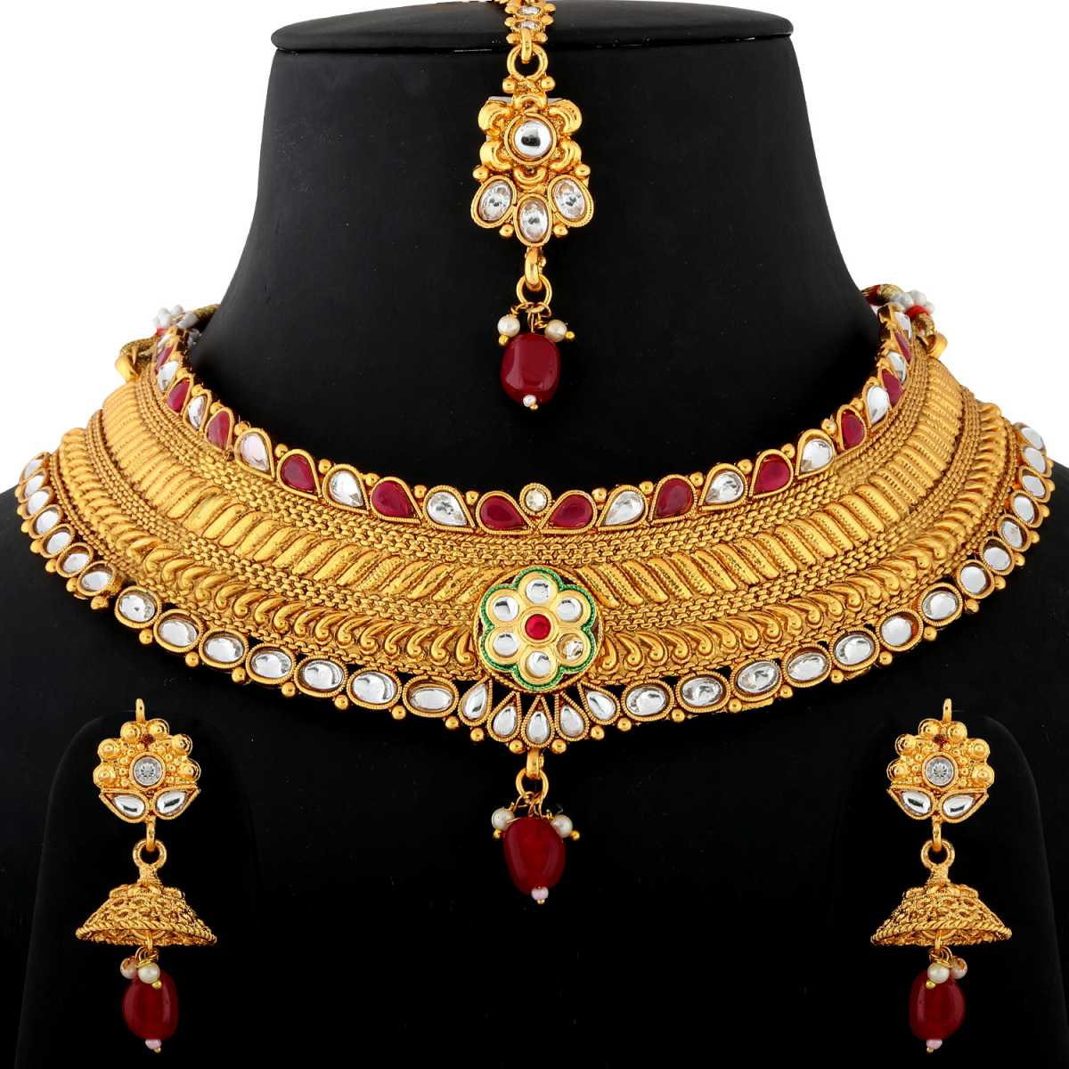 Silver Shine Gold Plated Choker  Traditional Self Textured Design Kundan Stone Studded with Multi Pearl Drop  Designer Bridal Wedding Necklace jewellery set for Girls And Women