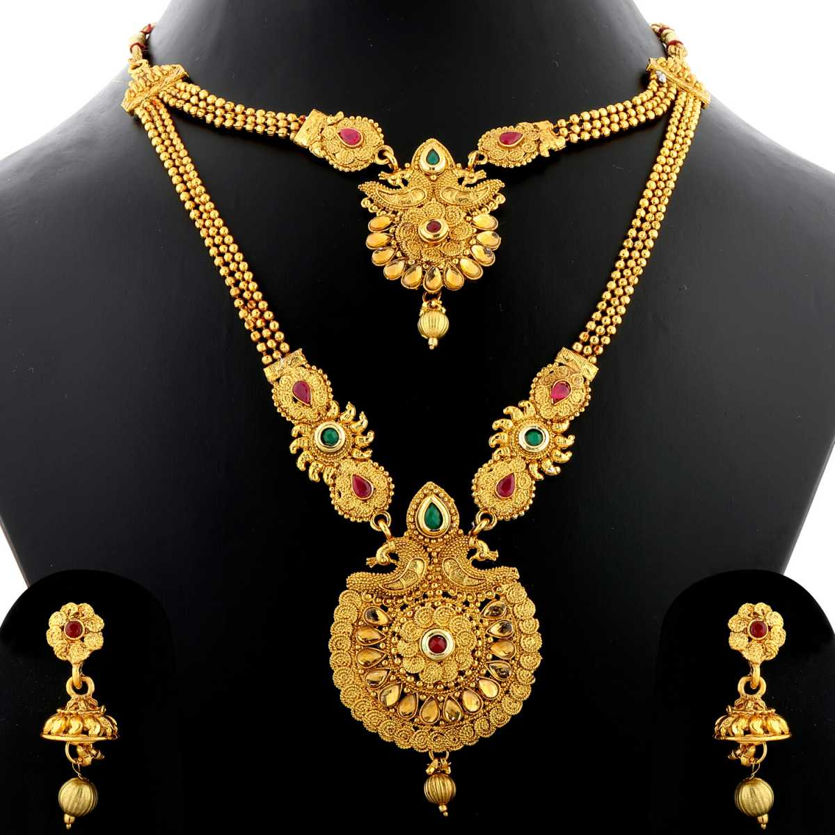 Silver Shine Exclusive Gold Plated Royal Peacock Style Designer Traditional Two Layer And Three Line Chain Long Necklace Set  Jewellery For Women And Girls