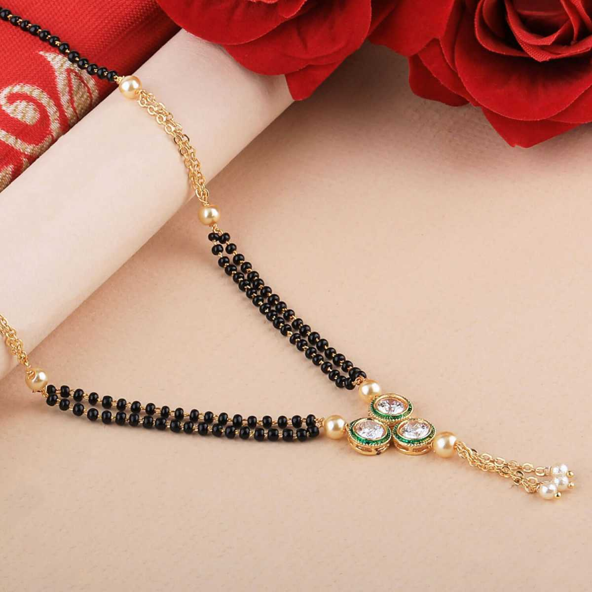 SILVER SHINE Traditional Gold Plated Designer Pandent Mangalsutra For Women