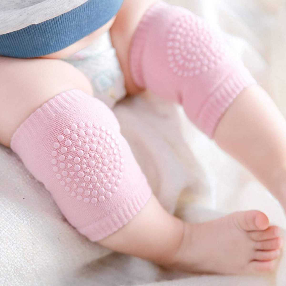 Silver Shine Baby Knee Pads Safety Crawling, Stretchable Anti-Slip Padded Soft Cotton Breathable Comfortable Knee(1 Pair,Assorted Color )