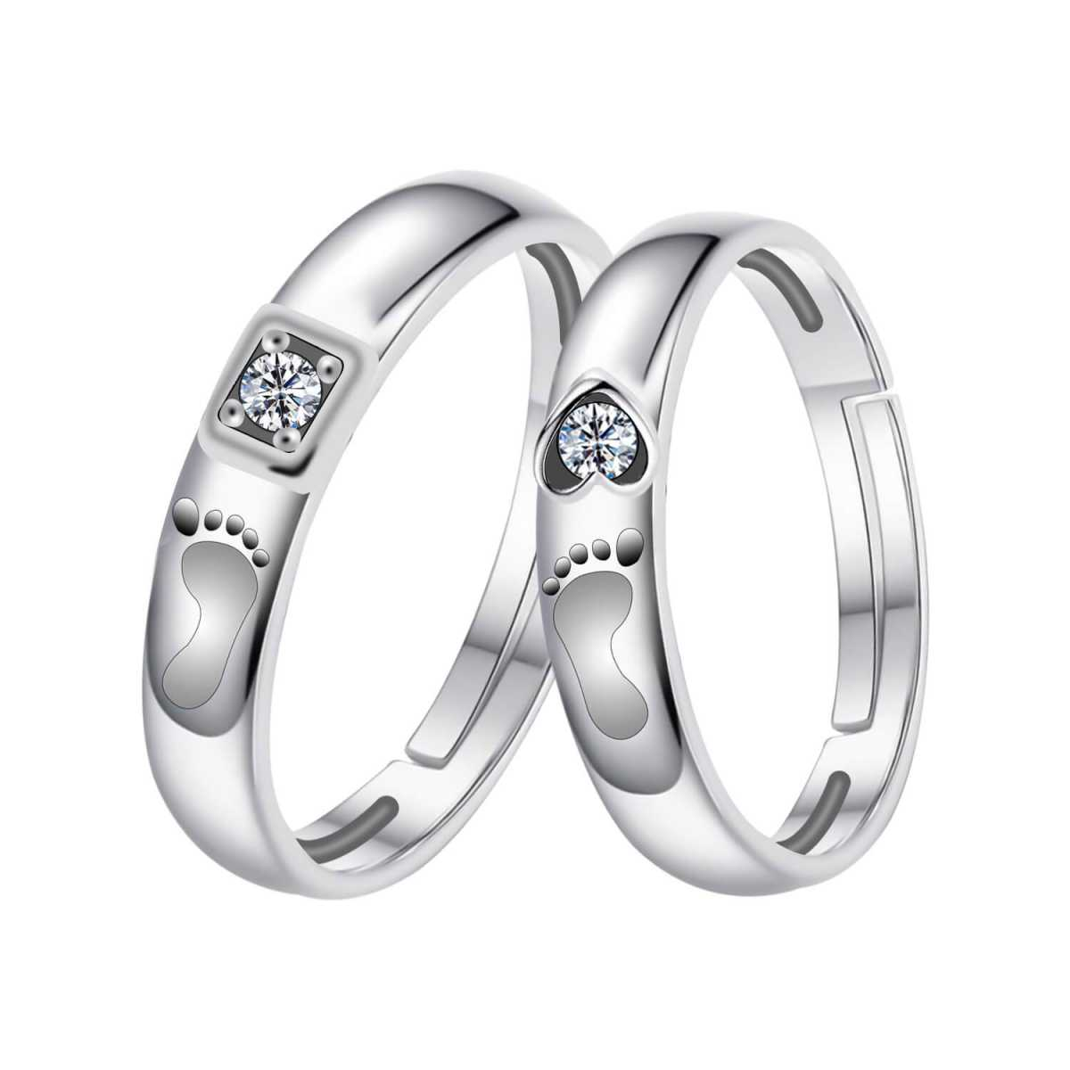 Silverplated  Elegant  Solitaire  proposal couple ring For Men And Women Jewellery