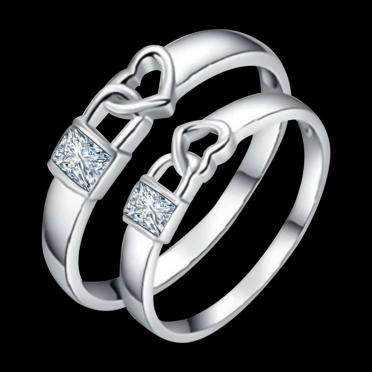 Silverplated Lock Heart Diamond His and Her Adjustable proposal couple ring For Men And Women Jewellery