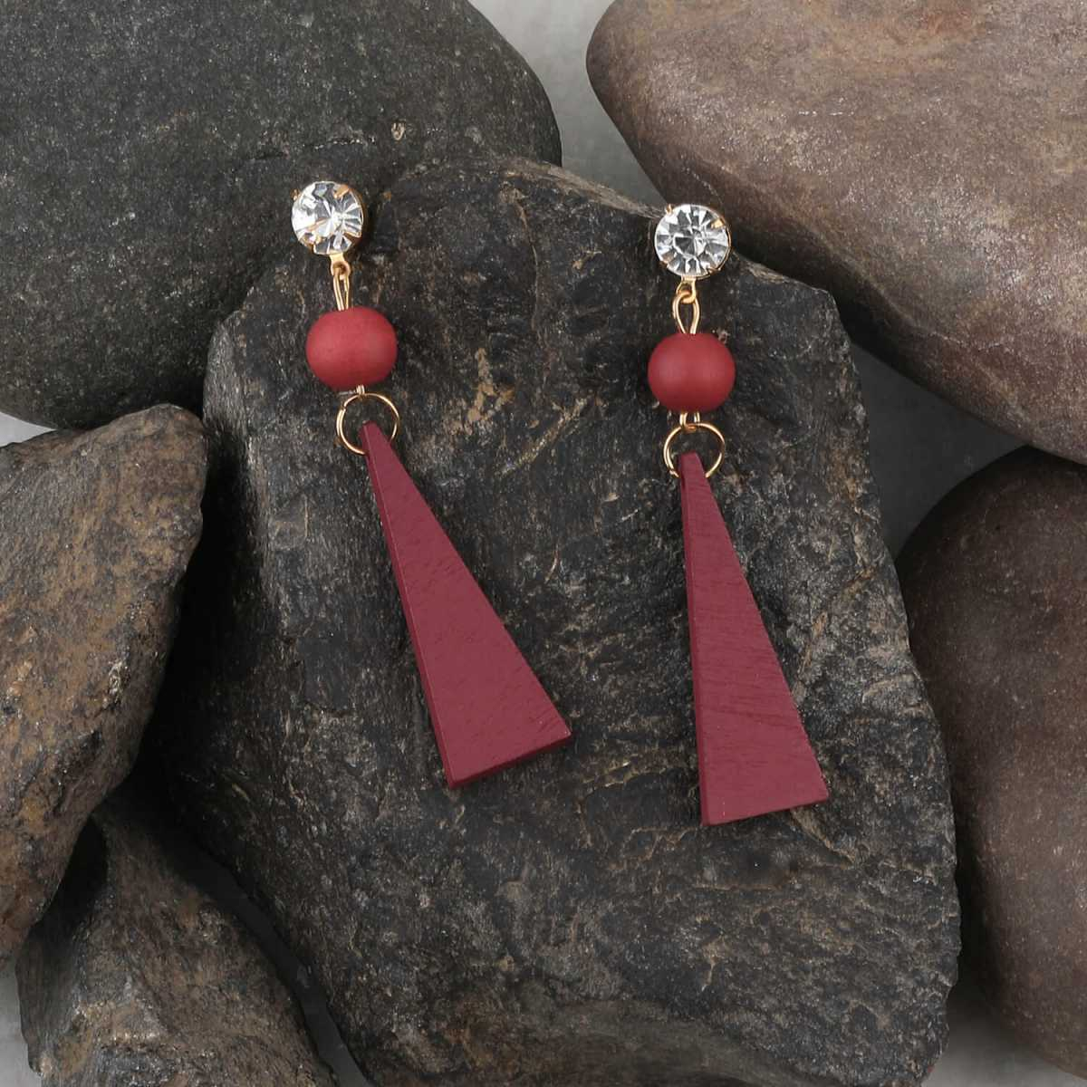 SILVER SHINE Antique Maroon Wooden Dangler Diamond  Earrings Perfect and Different Look for women girl.
